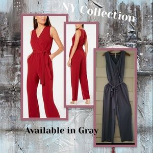 NY Collection Petite Gray Jumpsuit